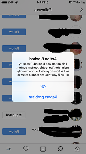 Pourquoi action bloquee sur Instagram ?